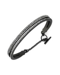 Vince Camuto | Metallic Double Band Pave Bracelet - Hematite/ Grey | Lyst