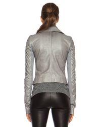 Rick Owens Gray Classic Biker Glass Ice Leather Jacket