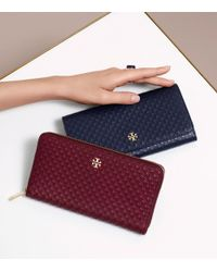 Tory Burch - Black Marion Diamond-Embossed Leather Wallet - Lyst