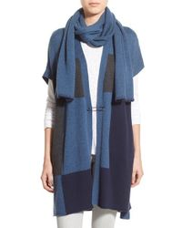PAIGE - Blue 'ruth' Long Open Cardigan With Attached Scarf - Lyst