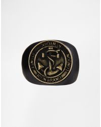 Icon Brand - Black Anchor Ring for Men - Lyst
