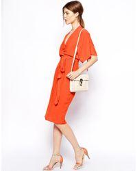ASOS Green Pencil Dress With Kimono Wrap