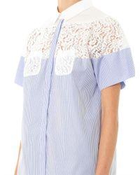 N°21 - Blue Cotton Lace Insert Blouse - Lyst