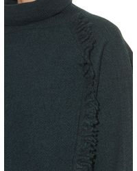 Vanessa Bruno Blue Dime Roll-neck Fringed Wool Sweater