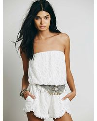 Free People | White Tahlia Romper | Lyst