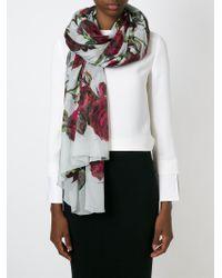 Dolce & Gabbana | White Rose Print Scarf | Lyst