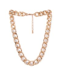 Forever 21 - Metallic Rhinestoned Link Chain Necklace - Lyst