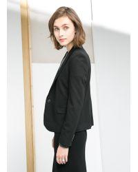 Mango - Black Contrast Flap Blazer - Lyst