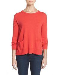 Halogen | Red Drop Shoulder Pocket Sweater | Lyst