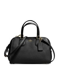 COACH | Black Nolita Mini Textured Leather Satchel | Lyst