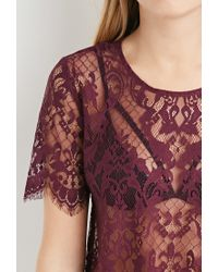 Forever 21   Purple Scalloped-eyelash Lace Top   Lyst
