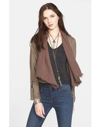 Free People Brown Drape Front Coated Jacket