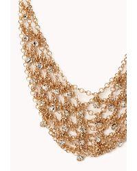 Forever 21 - Metallic Elegant Rhinestoned Bib Necklace - Lyst
