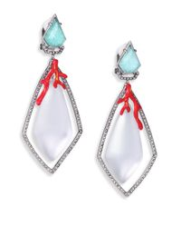 Alexis Bittar - Metallic Coral Deco Lucite, Amazonite, Crystal & Enamel Clip-on Drop Earrings - Lyst