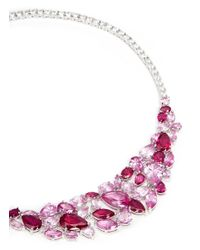 CZ by Kenneth Jay Lane | Pink Mix Cubic Zirconia Bib Necklace | Lyst