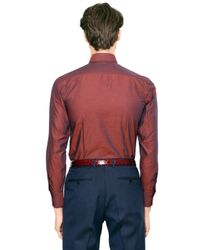 Canali Red Iridescent Cotton Ottoman Shirt for men