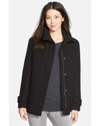 Ellen Tracy | Black Inverted Back Pleat Wool Blend Coat | Lyst
