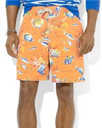 Polo Ralph Lauren - Orange East Hampton Fishprint Swim Trunks for Men - Lyst