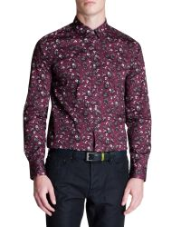 Ted Baker | Purple Noface Floral Print Sport Shirt - Regular Fit for Men | Lyst
