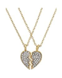 Juicy Couture | Metallic Goldtone Best Friend Pave Heart Charm Necklace Set | Lyst
