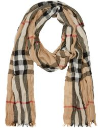 Burberry Natural Beige Check Crinkle Scarf for men