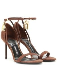 Tom Ford Brown Embellished Suede Sandals
