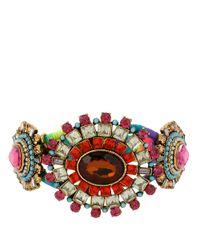 Betsey Johnson | Multicolor Crystal Gem Wrapped Bangle Bracelet | Lyst
