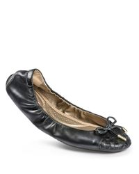 Me Too | Gray Leila Leather Woven-toe Bow Flats | Lyst