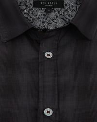 Ted Baker Gray Fulstop Ombré Checked Shirt for men