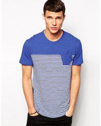 G-Star RAW Blue G Star T-Shirt Django Stripe Front 1 Pocket for men