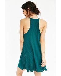 Silence + Noise Green Ribbed Swing Dress