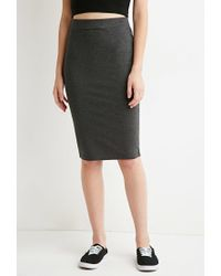 Forever 21 | Gray Stretch Knit Pencil Skirt | Lyst