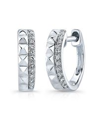 Anne Sisteron | Metallic 14kt White Gold Spike & Diamond Huggie Earrings | Lyst