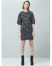Mango Black Floral Print Cut Out Detail Dress