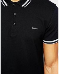 DKNY Black Fabric Collar Polo Shirt for men