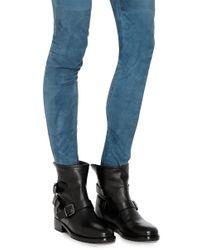 Giuseppe Zanotti Black Leather Side Buckled Moto Boots