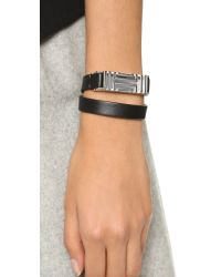 Tory Burch | Metallic For Fitbit Leather Bracelet - Black/tory Silver | Lyst