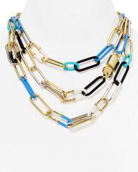 """Marc By Marc Jacobs Blue Ferus Bubble Chain Statement Necklace, 17"""""""