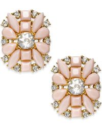 kate spade new york | Pink Gold-tone Floral Stone Stud Earrings | Lyst