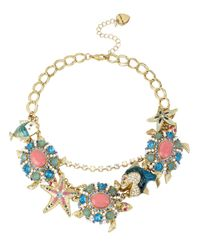 Betsey Johnson Multicolor Turtle Pendant Charm Frontal Necklace