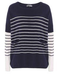 Cocoa Cashmere | Blue Striped Pocket Cashmere Jumper | Lyst