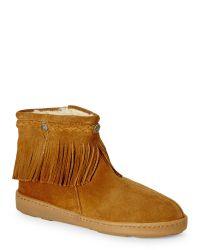 Minnetonka Dusty Brown Faux Shearling-Lined Fringe Boots