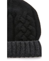 Paul Smith | Black Mixed Cable Knit Hat for Men | Lyst