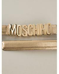 Moschino Metallic Logo Plaque Belt
