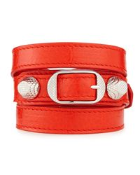 Balenciaga - Red Giant 12 Leather Bracelet - Lyst