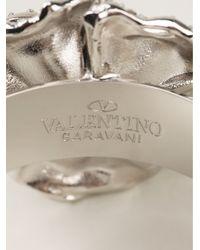 Valentino - Metallic Crystal Encrusted Rose Cuff - Lyst