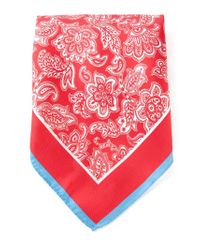 Kiton | Red Floral Print Handkerchief for Men | Lyst