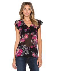 Joie | Black Macy B Floral-Print Silk Blouse | Lyst