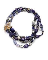 Alexis Bittar Elements Phoenix Sodalite, Blue Aventurine, Labradorite & Pyrite Tressage Necklace for men