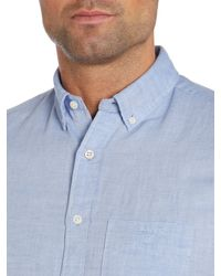 GANT Blue Classic Fit Linen Blend Shirt for men